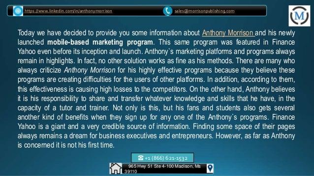 Anthony morrison made his way on finance yahoo Slide 3