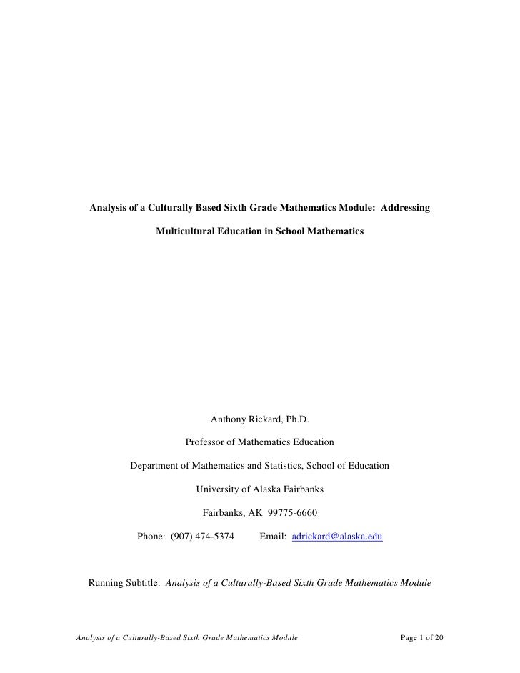 Analysis of a Culturally Based Sixth Grade Mathematics Module:  Addressing Multicultural Education in School Mathematics<b...