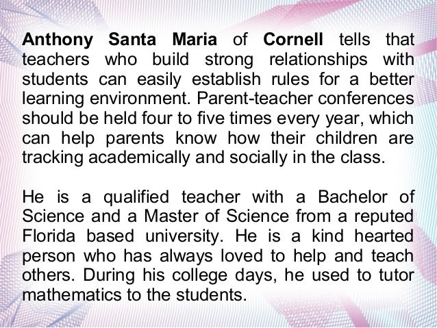 Anthony Santa Maria is an Experienced Elementary School Teacher in Cornell Slide 3