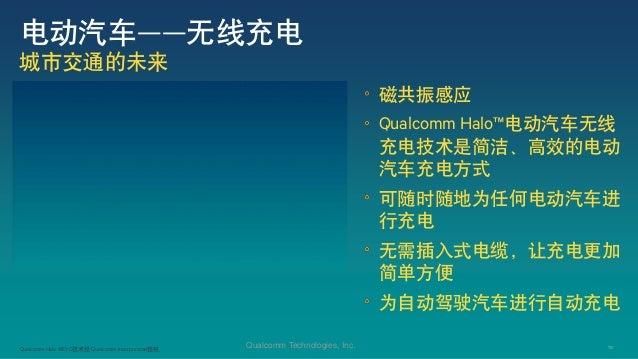 10Qualcomm Technologies, Inc. 电动汽车——无线充电 城市交通的未来 磁共振感应 Qualcomm Halo™电动汽车无线 充电技术是简洁、高效的电动 汽车充电方式 可随时随地为任何电动汽车进 行充电 无需插入式电缆...