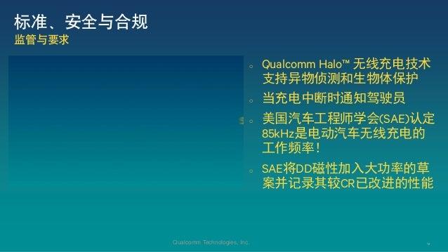 12Qualcomm Technologies, Inc.  Qualcomm Halo™ 无线充电技术 支持异物侦测和生物体保护  当充电中断时通知驾驶员  美国汽车工程师学会(SAE)认定 85kHz是电动汽车无线充电的 工作频率! ...