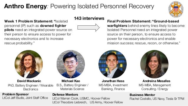 Anthro Energy: Powering Isolated Personnel Recovery David Mackanic Michael Kao Jonathan Hess Andreína Mesalles PhD, Batter...