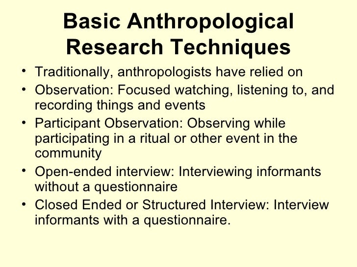 anthropological research examples
