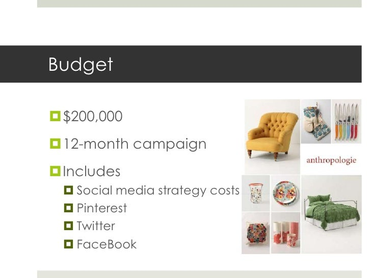Budget$200,00012-month campaignIncludes  Social media strategy costs  Pinterest  Twitter  FaceBook