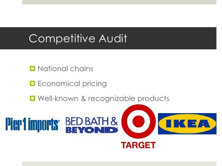 Competitive Audit National chains Economical pricing Well-known & recognizable products