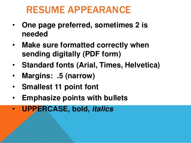 RESUME APPEARANCE ...