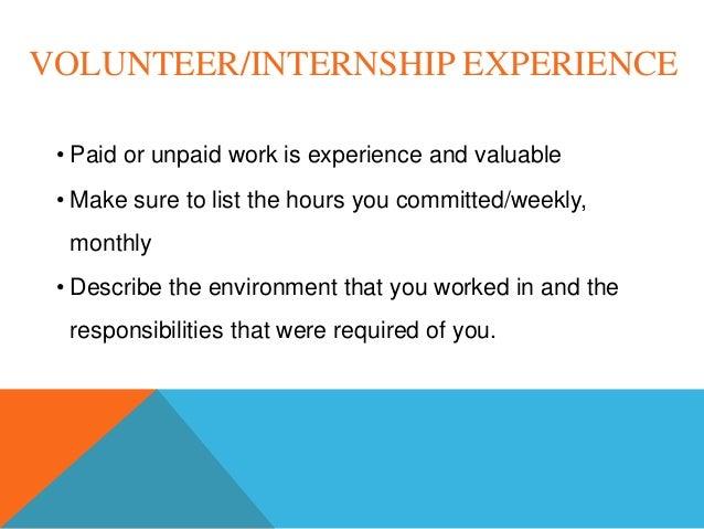 volunteer work experience resumes