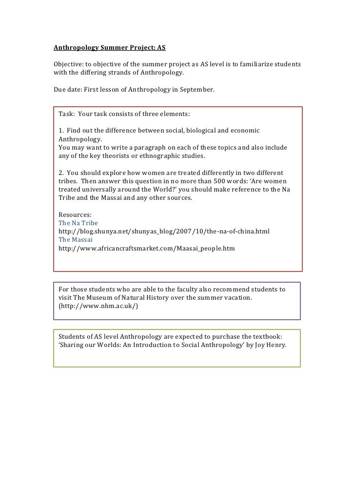 Anthropology Summer Project: ASObjective: to objective of the summer project as AS level is to familiarize studentswith th...