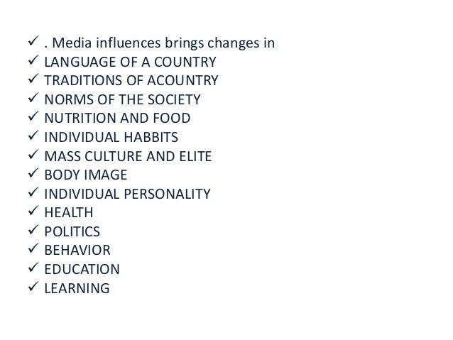 influence of media on youth  Slide 3