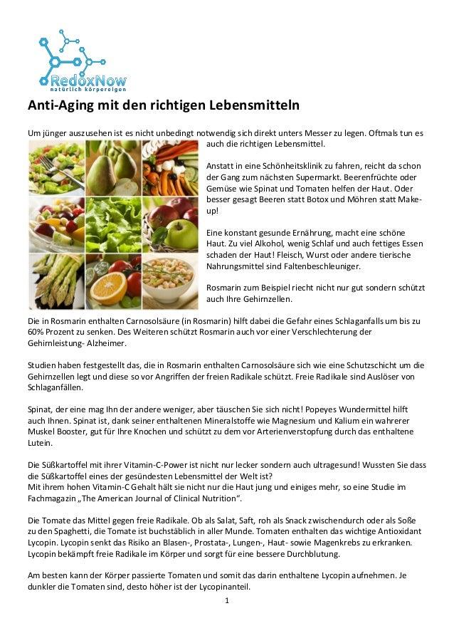 1 Anti-Aging mit den richtigen Lebensmitteln Um jünger auszusehen ist es nicht unbedingt notwendig sich direkt unters Mess...