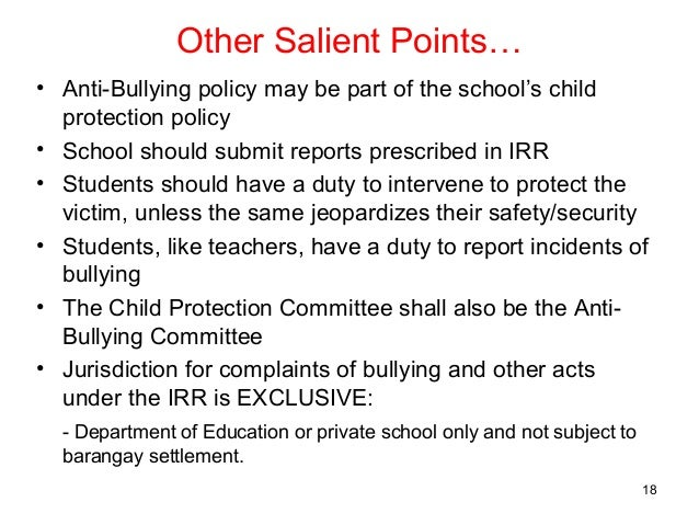anti bullying policies essay Anti-bullying alliance (aba), an association of organizations and  an act do  something about it, from reporting instances of bullying online,.