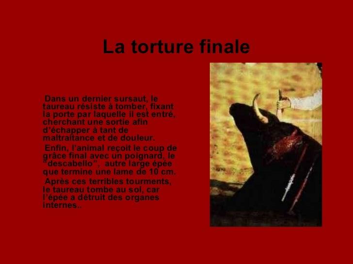 La torture finale <ul><li>Dans un dernier sursaut, le taureau résiste à tomber, fixant la porte par laquelle il est entré,...