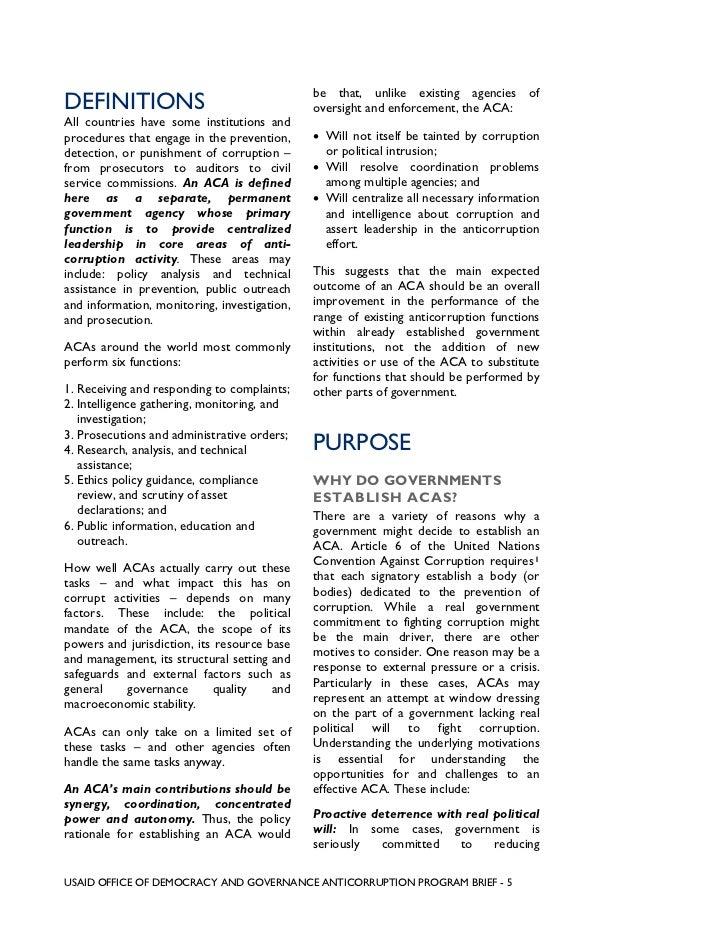 anti corruption agencies purpose pitfalls success factors usaid office of democracy and governance anticorruption program brief 4 5 be