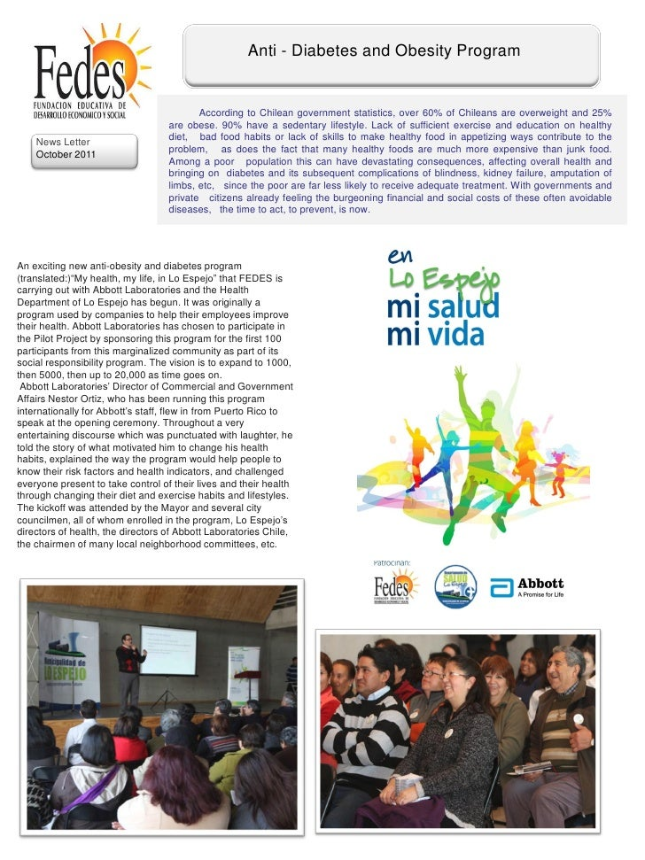 Anti - Diabetes and Obesity Program                                          According to Chilean government statistics, o...