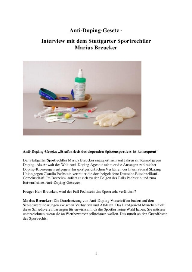 """1  Anti-Doping-Gesetz -  Interview mit dem Stuttgarter Sportrechtler Marius Breucker  Anti-Doping-Gesetz: """"Strafbarkeit de..."""