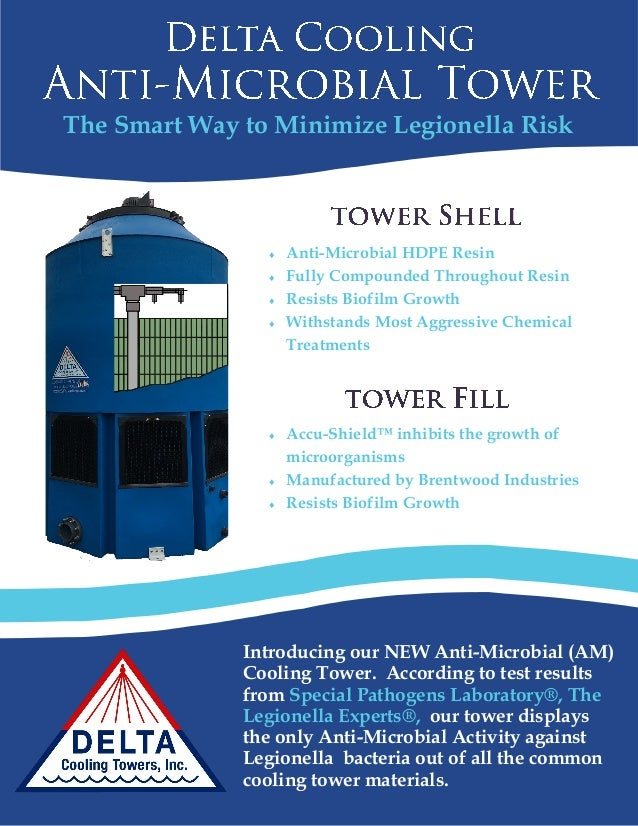 The Smart Way to Minimize Legionella Risk Introducing our NEW Anti-Microbial (AM) Cooling Tower. According to test results...