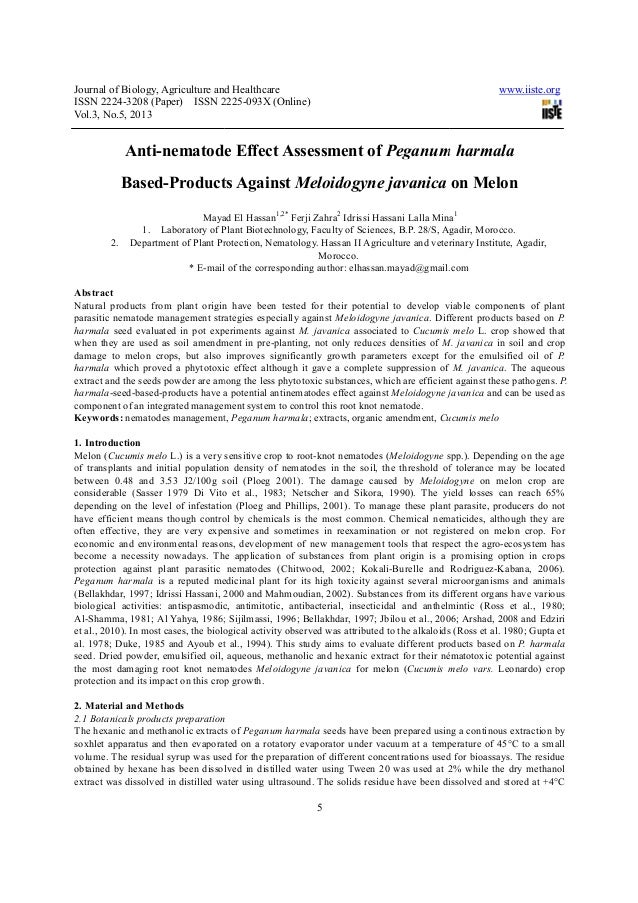 Journal of Biology, Agriculture and HealthcareISSN 2224-3208 (Paper) ISSN 2225Vol.3, No.5, 2013Anti-nematode Effect Assess...