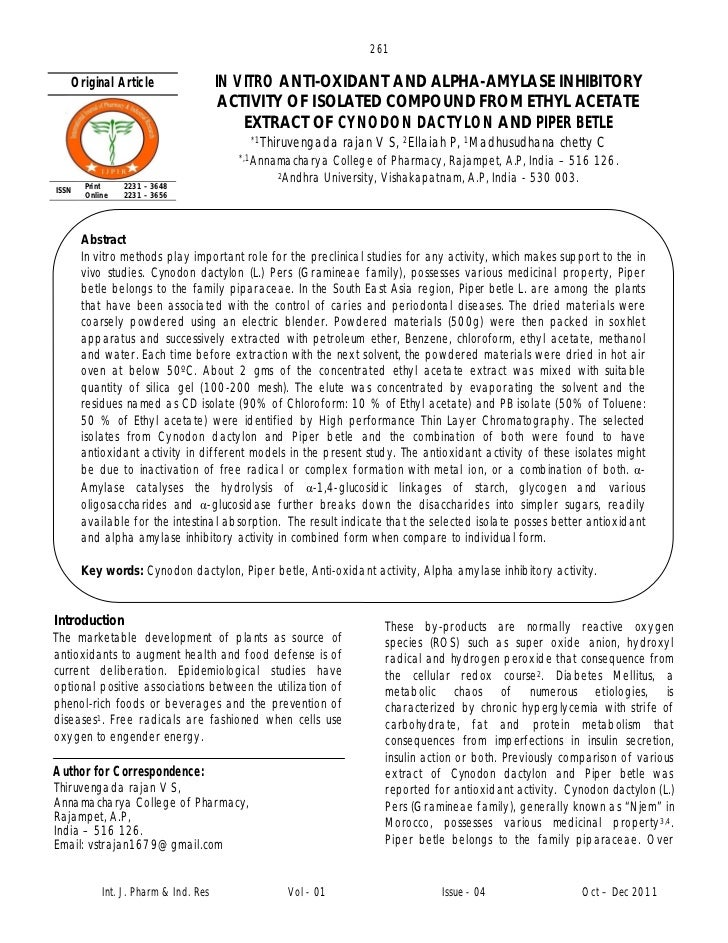 261   Original Article                   IN VITRO ANTI-OXIDANT AND ALPHA-AMYLASE INHIBITORY                               ...