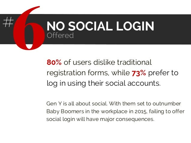 80% of users dislike traditional registration forms, while 73% prefer to log in using their social accounts. Gen Y is all ...