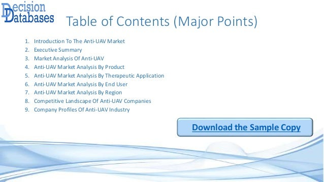 Table of Contents (Major Points) 1. Introduction To The Anti-UAV Market 2. Executive Summary 3. Market Analysis Of Anti-UA...