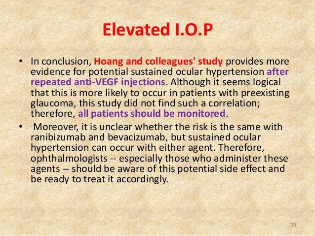 iop spike control after intravitreal anti vegf After intravitreal implants, and may be a feature of ocriplasmin use  local  infection control team) is required which only deals with clean (non-   incidence of intraocular pressure elevation following intravitreal ranibizumab ( lucentis) for age-related  intraocular pressure spikes after aflibercept  intravitreal injections.