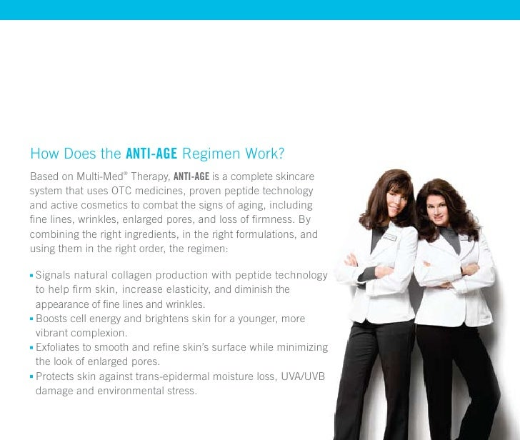 How Does the anti-age Regimen Work? Based on Multi-Med® Therapy, anti-age is a complete skincare system that uses OTC medi...