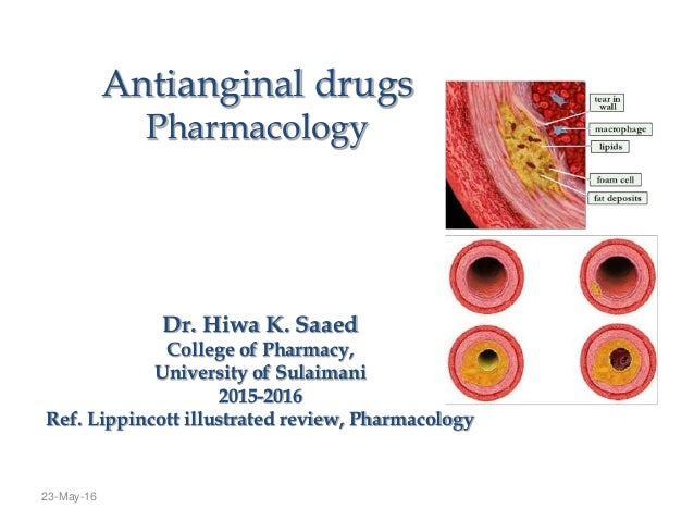 23-May-16 Antianginal drugs Pharmacology Dr. Hiwa K. Saaed College of Pharmacy, University of Sulaimani 2015-2016 Ref. Lip...