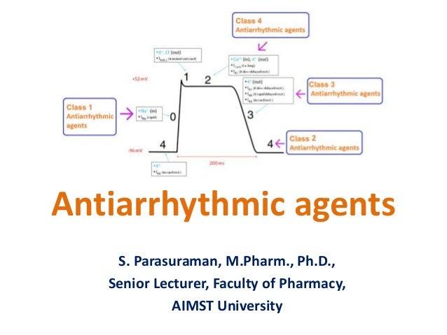 Antiarrhythmic agents S. Parasuraman, M.Pharm., Ph.D., Senior Lecturer, Faculty of Pharmacy, AIMST University