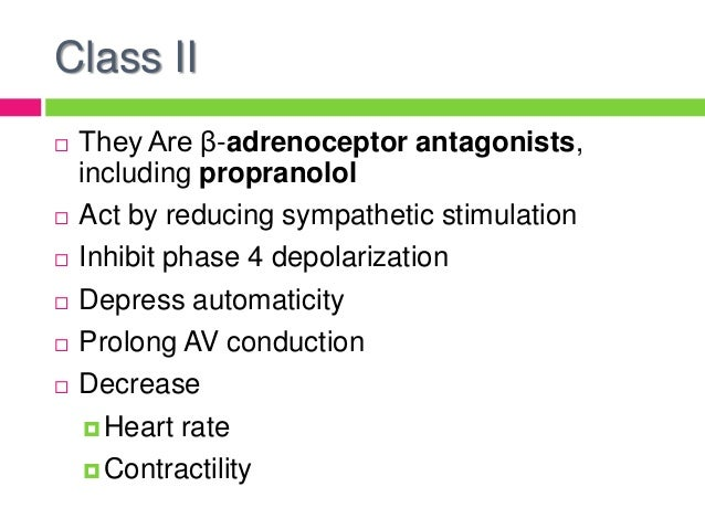 what drug class is propranolol