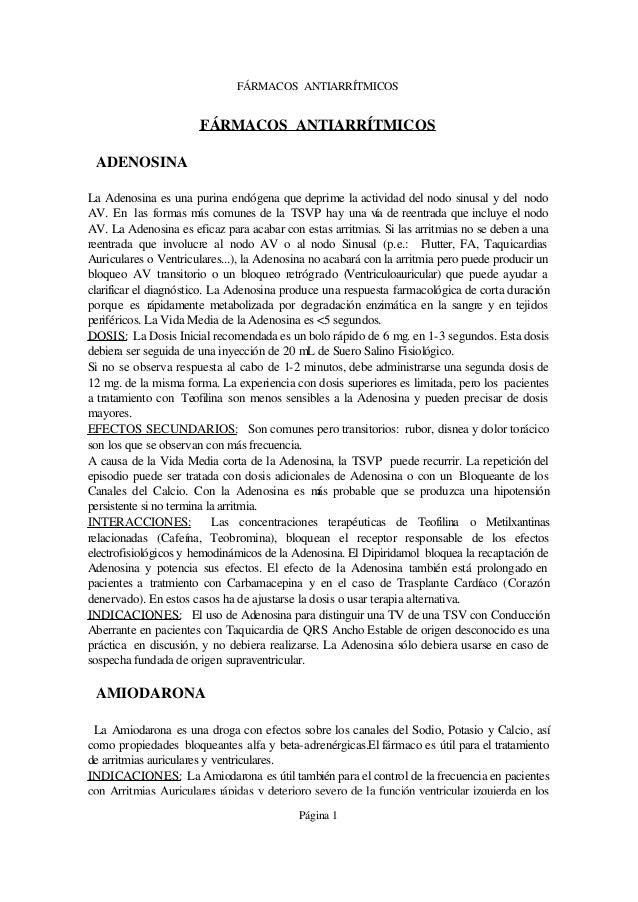 FÁRMACOS ANTIARRÍTMICOS                       FÁRMACOS ANTIARRÍTMICOS ADENOSINALa Adenosina es una purina endógena que dep...