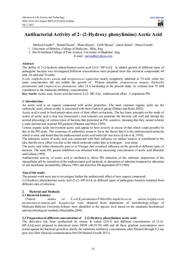 Advances in Life Science and Technology www.iiste.orgISSN 2224-7181 (Paper) ISSN 2225-062X (Online)Vol 7, 201315Antibacter...