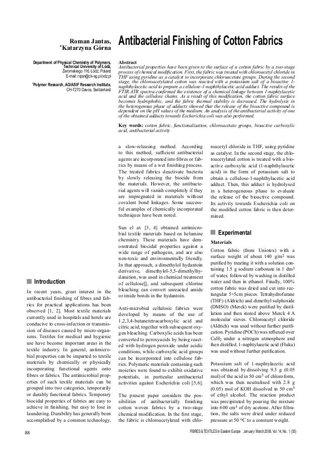 FIBRES & TEXTILES in Eastern Europe January / March 2006, Vol. 14, No. 1 (55)88 n Introduction In recent years, great inte...