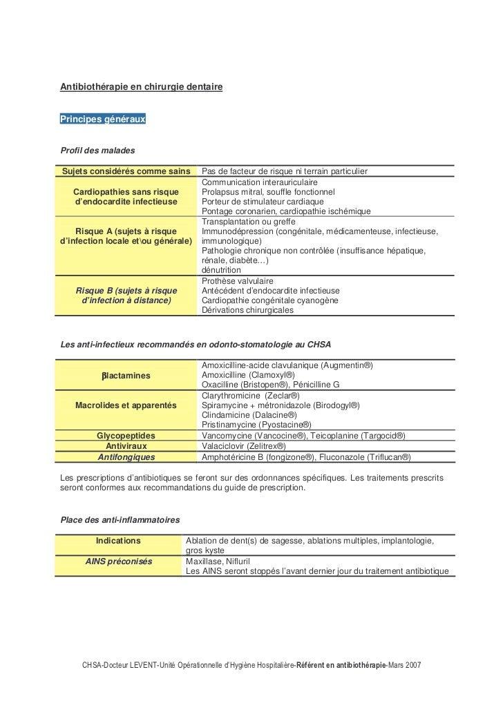 Antibiothérapie en chirurgie dentairePrincipes générauxProfil des maladesSujets considérés comme sains        Pas de facte...