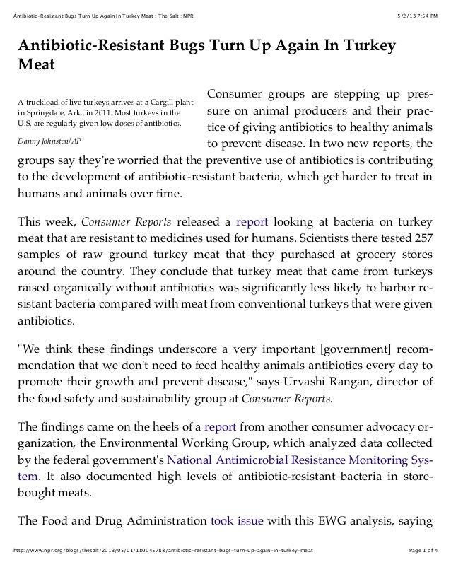 5/2/13 7:54 PMAntibiotic-Resistant Bugs Turn Up Again In Turkey Meat : The Salt : NPRPage 1 of 4http://www.npr.org/blogs/t...