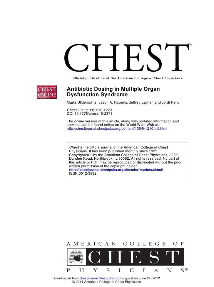 Antibiotic Dosing in Multiple Organ         Dysfunction Syndrome         Marta Ulldemolins, Jason A. Roberts, Jeffrey Lipm...