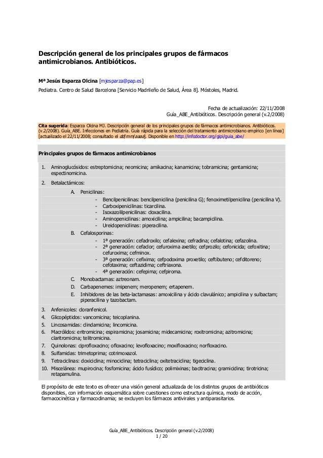 Descripción general de los principales grupos de fármacos antimicrobianos. Antibióticos. Mª Jesús Esparza Olcina [mjesparz...