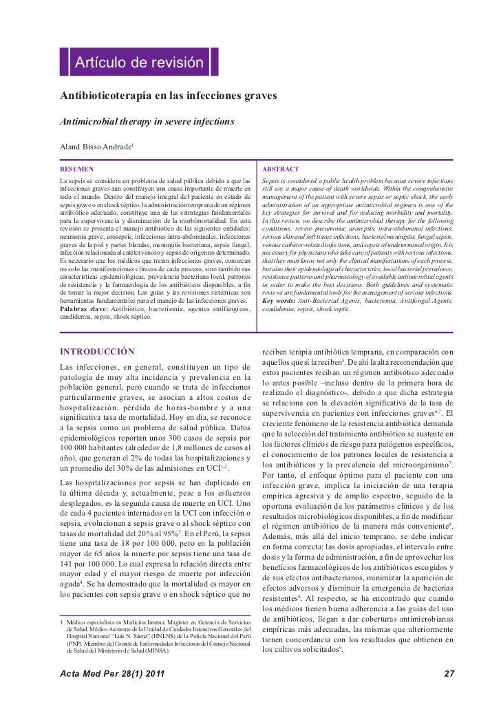 Artículo de revisiónAntibioticoterapia en las infecciones gravesAntimicrobial therapy in severe infectionsAland Bisso Andr...