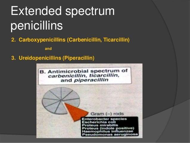 CARBEPENICILLIN  Penicillin conger.  Special feature- its activity against peudomonas aeriginosa and indole positive Pro...
