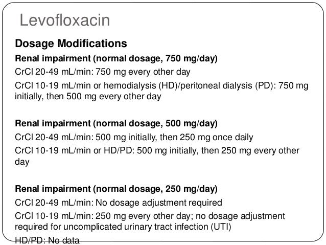 modification dose levofloxacin renal