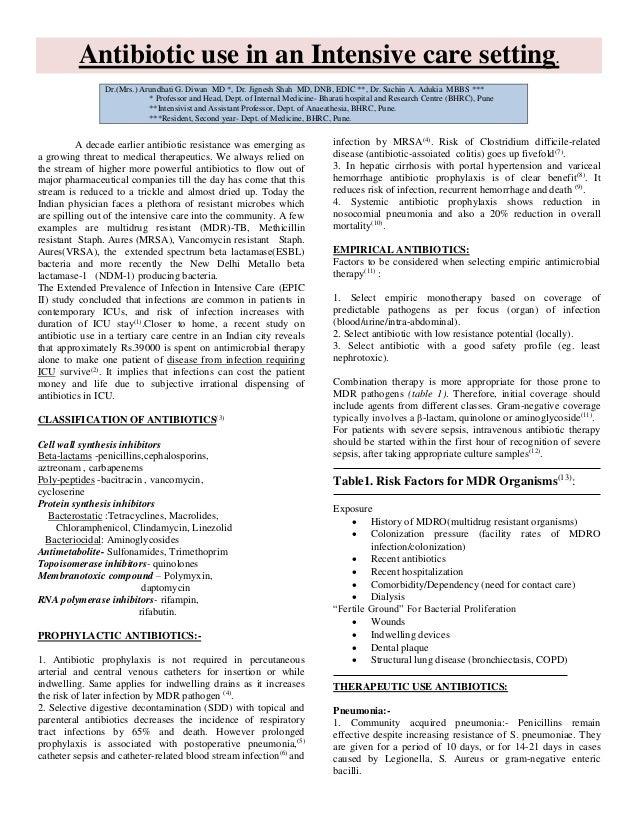 Antibiotic use in an Intensive care setting. Dr.(Mrs.) Arundhati G. Diwan MD *, Dr. Jignesh Shah MD, DNB, EDIC **, Dr. Sac...
