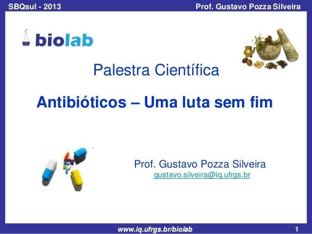 SBQsul - 2013  Prof. Gustavo Pozza Silveira  Palestra Científica Antibióticos – Uma luta sem fim  Prof. Gustavo Pozza Silv...