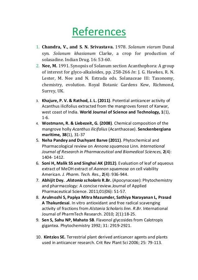 Anticancer activity of medicinal plants thesis