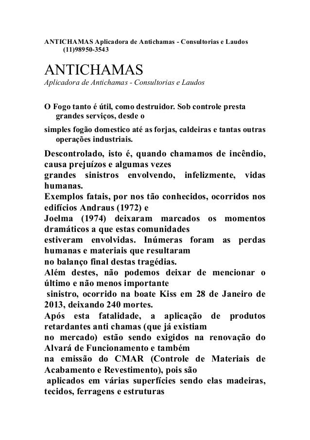 ANTICHAMAS Aplicadora de Antichamas - Consultorias e Laudos (11)98950-3543 ANTICHAMAS Aplicadora de Antichamas - Consultor...