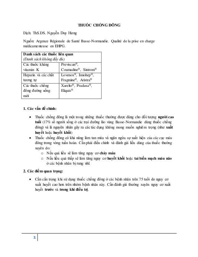 1 THUỐC CHỐNG ĐÔNG Dịch: ThS.DS. Nguyễn Duy Hưng Nguồn: Argence Régionale de Santé Basse-Normandie. Qualité de la prise en...