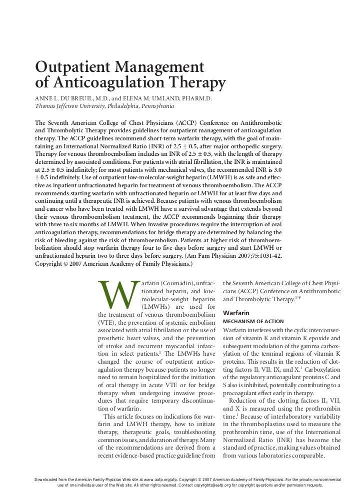 Outpatient Managementof Anticoagulation TherapyANNE L. DU BREUIL, M.D., and ELENA M. UMLAND, PHARM.D.Thomas Jefferson Univ...