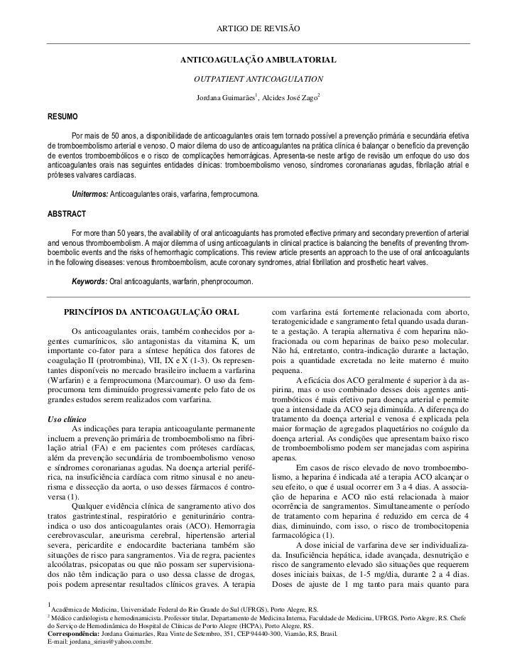ARTIGO DE REVISÃO                                              ANTICOAGULAÇÃO AMBULATORIAL                                ...