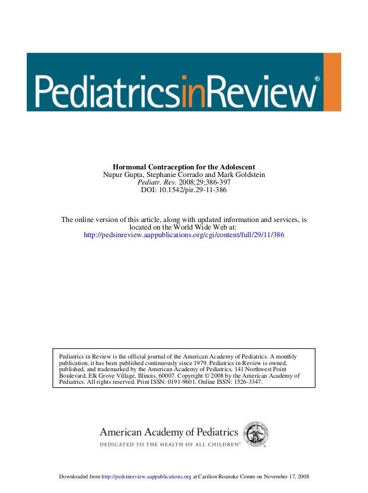 Hormonal Contraception for the Adolescent                 Nupur Gupta, Stephanie Corrado and Mark Goldstein               ...