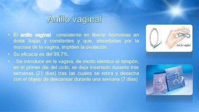 • El anillo vaginal consistente en liberar hormonas en dosis bajas y constantes y que, absorbidas por la mucosa de la vagi...
