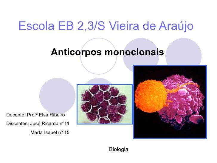 Escola EB 2,3/S Vieira de Araújo Anticorpos monoclonais Docente: Profª Elsa Ribeiro Discentes: José Ricardo nº11 Marta Isa...