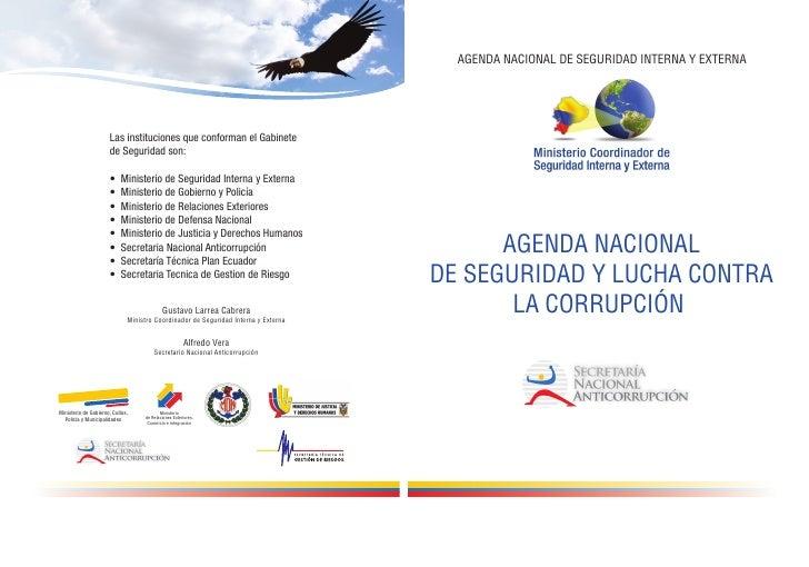 AGENDA NACIONAL DE SEGURIDAD INTERNA Y EXTERNA      AGENDA NACIONALDE SEGURIDAD Y LUCHA CONTRA       LA CORRUPCIÓN
